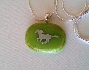 Fused Glass pendant  Horse Pendant Necklace
