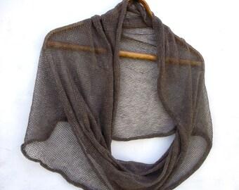knit linen scarf, knitted flax khaky shawl, knitting infinity wrap, light circle shawl, women accessories khaky lace cowl cotton clothing