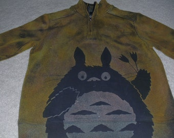 Cozy, super soft man's Arrow sweatshirt/jacket with a 3/4 zipper, Totoro close-up with tulips, discharged and dyed, chartreuse & baby blue