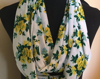 New Long Floral Stretch Knit Infinity Scarf, Yellow, Green and White.