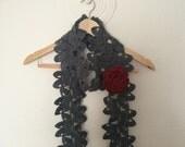 Gray Flower Scarf, Crochet Flower Scarf