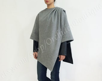 HUGME cashmere wool asymmetrical pleated coat jacket oversized outerwear winter fall leather gray