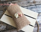 Light Brown and Pale Pink Headband with Light brown Soft Stretch Wrap, Baby Wrap, Pink Headband, Photo Prop, Baby Headband, Newborn Wrap
