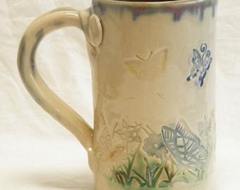 ceramic butterfly coffee mug 16oz  stoneware 16A092