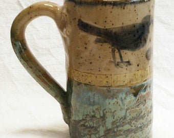 Ceramic blackbird coffee mug 16oz stoneware 16A073
