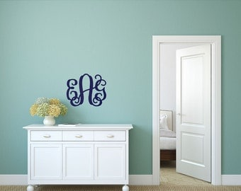 """Interlocking Wooden Monogram - 3 initials - UNFINISHED WOOD - 14"""" and 18"""" available"""