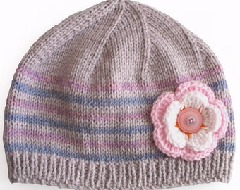 Girls Retro HANDMADE Purple Lilac Stripe Knitted Wool Beanie Hat with Flower & Buttons . Gift Idea . Size - Age : 3 4 5 . Made in Australia