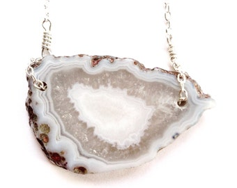 Agate slice geode sterling silver necklace