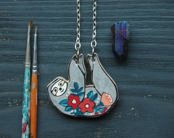 Cute sloth necklace,hand painted sloth jewelry,funny, quirky animal necklace ,hanging sloth pendant ,unique gift for her