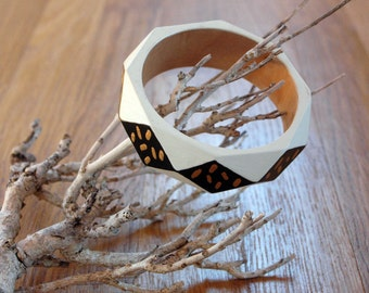 Black and white bracelet,geometric bracelet, wooden bangle, wood bracelet