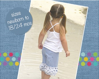 Baby Clarissa's Belted Pants and Capris PDF Pattern size newborn to 18/24m