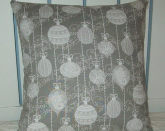 Silver Christmas Ornaments Pillow