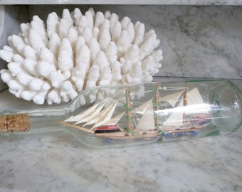 Vintage French Ship in a Bottle Maritime Collectibles Miniature Ship Model Sail Boat Beach Decor Coastal Decor Made in France