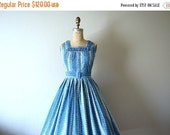SALE 1950s blue floral dress . vintage 50s sundress