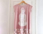 Mini dress. Buddha. Made in Italy. Wearable art. Short sleeve, 100% cotton, Spring gift for her, for all seasons