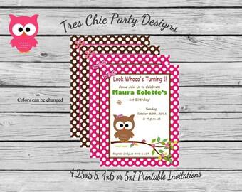 Owl birthday invitations owl invitations owl birthday invite owl birthday theme pink owl invitation pink owl invites pink owl birthday