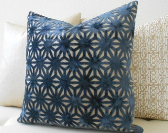 Navy and gold geometric cut velvet decorative pillow cover