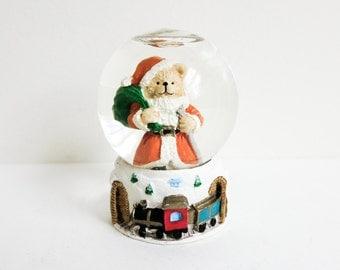 Miniature Christmas Snow Globe with Santa Bear - Mini Santa Snow Globe - Christmas Decoration - Wreath Supply - Dollhouse Christmas