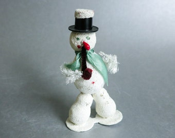 1950's Christmas Tree Ornament - Snowman with Pipe, Glitter, Green Scarf - Snowman with Legs - Kitsch Retro Christmas Decoration