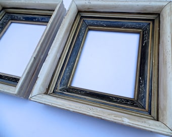 19th Century Painted Wood Picture Frame PAIR,  19thC Giltwood Gallery Frames PAIR, 19th Century Continental Antiques
