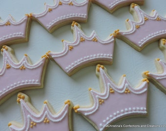 Princess Tiara or Crown Decorated Sugar cookies with sugar accents (#2448)