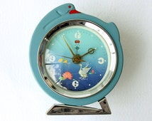 Vintage desk clock Old alarm clock with moving swan Wind up clock Chinese table clock Mechanical clock Retro home decor Rustic house
