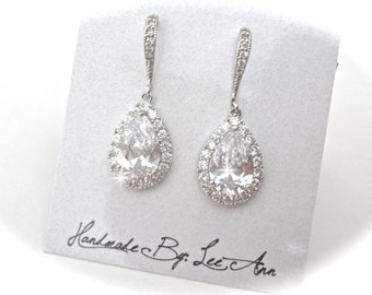 Cubic zirconia earrings ~ Brides earrings ~ Sterling wires ~ Teardrops ~ High quality ~ Sparkles like diamonds ~ Classic ~ Wonderful Gift