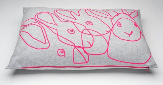 Big Neon Rabbit Pillow, 60x40 cm.