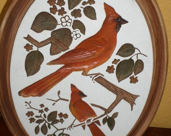 Oval PLASTER of PARIS CARDINAL Birds/Vintage/Hand Painted