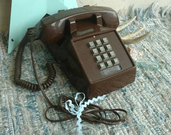 Retro Brown + Gray Touch Tone Phone - Vintage Working Desk or Office Decor, Mid Century Telephone, Push Button Phone, Office Desk Phone