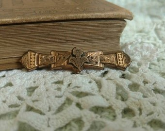 Victorian Rose Gold Floral Bar Pin - Extremely Old Brooch, Lapel Pin, Victorian Collectible, Squirrel Jewelry, Antique Rose Gold Pin/Brooch