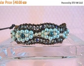 Clearance Sale Womens Leather Cord Wrap Bracelet  -  Greek Leather Cord  - Crystal and Pearls - Button Clasp