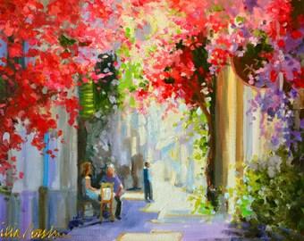 BOUGAINVILLEA LANE, pink and purple, Italian side street, oil on canvas, painting, art