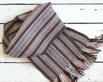 Hand woven men scarf stripes wool mens scarf