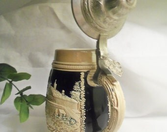 Sale- Super Mint Vintage Authentic GERMAN Famous Maker BEER STEIN Tankard & Pewter Lid- Birthday Gift Him Her Dad Boyfriend Husband Father