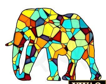 Stain Glass Elephant Etsy