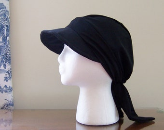 Baseball Style Chemotherapy Cap with Ties in Black Stretch Knit for Women, Soft and Comfortable, Ready to Ship, Cancer Patient Gift