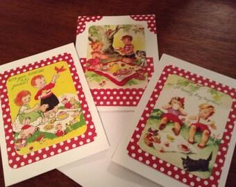 Greeting Cards, Blank Inside, Set of Three, Handmade Cards