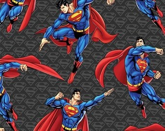 Superman Krypton's Last Hero Fleece Fabric by David Textiles By The Yard