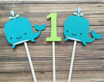 Whale of a Time Party Cupcake Toppers 1st Birthday Cupcake Toppers