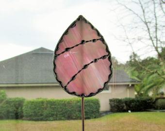 Stained Glass Easter Egg Garden Stake/Garden Marker in Pink and White Iridescent Glass - Medium Egg Plant Stake