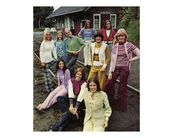 1970s Sweater Knitting Patterns 10 Twin Sets Turtleneck, Cardigan, Pullover, Jacket, V Neck Crew Neck Vintage Knitting Pattern