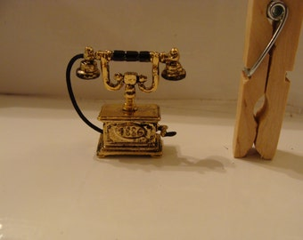 French Antique Style Telephone, Miniature, 1  1/4 inches Tall