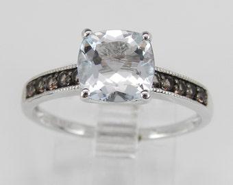 Cushion Cut Aquamarine Smokey Topaz Promise Engagement Ring White Gold Size 7.25