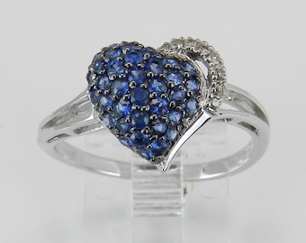 Sapphire Heart Ring Diamond Cluster Ring White Gold September Birthstone Size 7