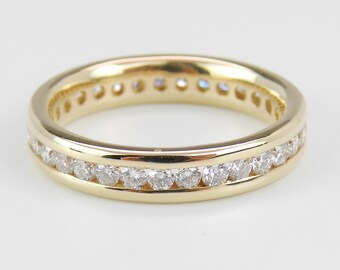 Diamond Eternity Wedding Ring Anniversary Band 14K Yellow Gold Size 6.75