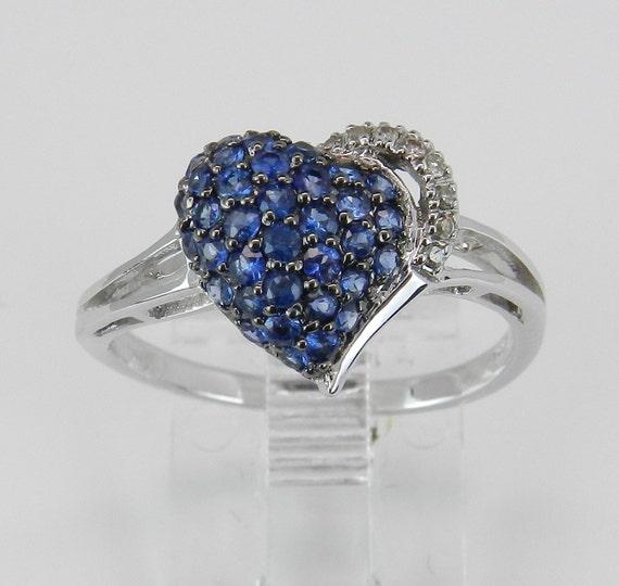 Sapphire Heart Ring Diamond Cluster Ring White Gold September Birthstone Size 7