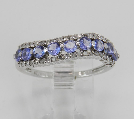 Diamond and Tanzanite Wedding Ring Stackable Anniversary Band White Gold Size 7.5