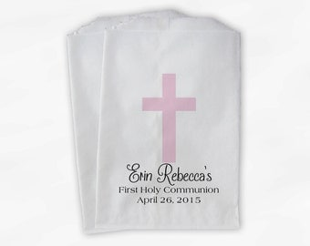 First Communion Favor Bags - Baptism or Religious Party Custom Favor Bags - Set of 25 Pink and Black Paper Treat Bags (0073)