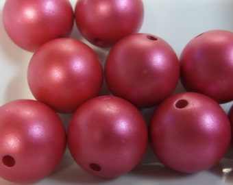 20mm, 10CT, Matte Red Pearl Beads, Acrylic Beads, Round, Solids, C44